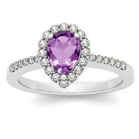 1.00 Carat Amethyst and Diamond Halo Ring in 14K White Gold