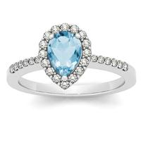 1.00 Carat Blue Topaz and Diamond Halo Ring in 14K White Gold