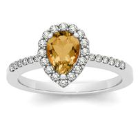 1.00 Carat Citrine and Diamond Halo Ring in 14K White Gold