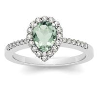 1.00 Carat Green Amethyst and Diamond Halo Ring in 14K White Gold