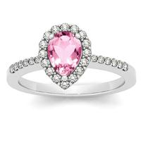 1.00 Carat Pink Topaz and Diamond Halo Ring in 14K White Gold