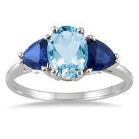 1.50 Carat Genuine Blue Topaz and Lab Sapphire Three Stone Ring in .925 Sterling Silver