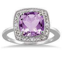 2.75 Carat Cushion Cut Amethyst and Diamond Halo Ring in .925 Sterling Silver