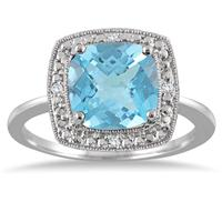 2.75 Carat Cushion Cut Blue Topaz and Diamond Halo Ring in .925 Sterling Silver
