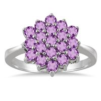 1.40 Carat Amethyst Flower Cluster Ring in .925 Sterling Silver