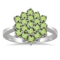 August Birthstone: 1.40 Carat Peridot Flower Cluster Ring in .925 Sterling Silver