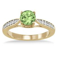 1 Carat Peridot & Diamond Ring in 18K Yellow Gold Plated Sterling Silver
