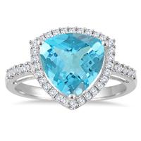 3.50 Carat Swiss Blue Topaz Halo Cocktail Ring in .925 Sterling Silver