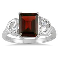 3.00 Carat Emerald Cut Garnet and Diamond Ring in .925 Sterling Silver