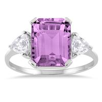 3 Carat Amethyst and White Topaz Three Stone Ring in .925 Sterling Silver