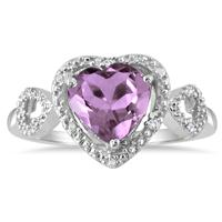 2.00 Carat Amethyst and Diamond Double Heart Ring in .925 Sterling Silver