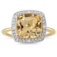 2.15 Carat Cushion Cut Citrine and Diamond Halo Ring in 18K Yellow Gold Plated Sterling Silver