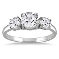 2.25 Carat Three Stone White Topaz Ring in .925 Sterling Silver