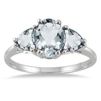1.80 Carat Genuine Aquamarine Three Stone Ring in .925 Sterling Silver