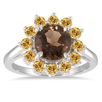 2.65 Carat TW Smokey Quartz and Citrine Sunburst Ring in .925 Sterling Silver