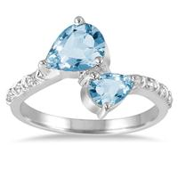 1.75 Carat T.W Pear Shape Blue and White Topaz Ring in .925 Sterling Silver