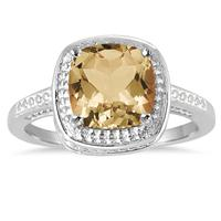 2.00 Carat Cushion Cut Citrine Ring in .925 Sterling Silver