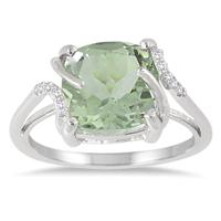 3.75 Carat Cushion Cut Green Amethyst and Diamond Ring in .925 Sterling Silver