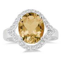 3.00 Carat T.W Citrine and White Topaz Ring in .925 Sterling Silver