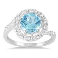 2.35 Carat T.W Blue and White Topaz Halo Ring in .925 Sterling Silver