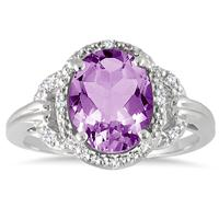 2.50 Carat TW Amethyst and Diamond Ring in Sterling Silver
