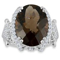 8.65 Carat Oval Smokey Quartz and White Topaz Royal Ring in .925 Sterling Silver