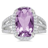 7.85 Carat TW Amethyst and White Topaz Ring in .925 Sterling Silver