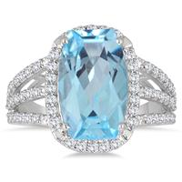 9.60 Carat TW Blue and White Topaz Ring in .925 Sterling Silver
