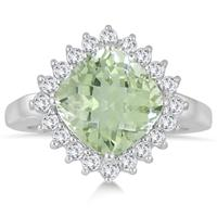 3.50 Carat Cushion Cut Green Amethyst and White Topaz Halo Ring in .925 Sterling Silver