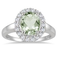 1.75 Carat Oval Green Amethyst and White Topaz Halo Ring in .925 Sterling Silver