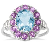2.75 Carat All Natural Blue Topaz and Amethyst Ring in .925 Sterling Silver