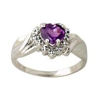 Ameythest and Diamond Heart Ring in 10K White Gold