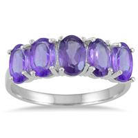 2.25 Carat T.W Oval Amethyst 5 Stone Ring in .925 Sterling Silver
