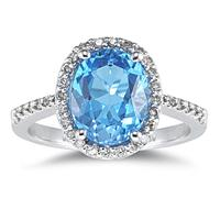Blue Topaz Oval Ring with Diamonds in 14K White Gold