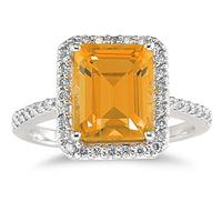 4 1/2 Carat Emerald Cut Citrine and Diamond Ring 14K White Gold