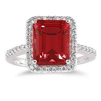 4 1/2 Carat Emerald Cut Garnet and Diamond Ring 14K White Gold