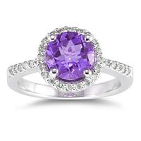 2.50 Carat Amethyst and Diamond Ring 14K White Gold