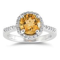 2.50 Carat Citrine and Diamond Ring 14K White Gold