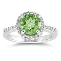 2.50 Carat Peridot and Diamond Ring 14K White Gold
