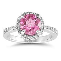 2.50 Carat Pink Topaz and Diamond Ring 14K White Gold