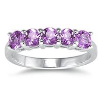 5 Stone Amethyst Ring 14K White Gold