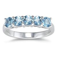 5 Stone Blue Topaz Ring 14K White Gold