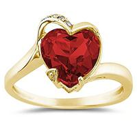 Heart Shaped Garnet and Diamond Curve Ring in 14K Yellow Gold