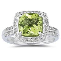 2 1/2 Carat Cushion Cut Peridot & Diamond Ring in 14K White Gold