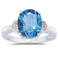 Blue Topaz & Diamond Ring in White Gold