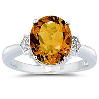 Citrine  & Diamond Ring in White Gold