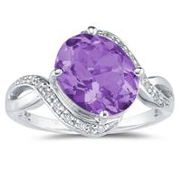 Oval Shaped  Amethyst and Diamond Curve Ring in 10K White Gold