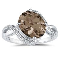 Oval Shaped   Smokey Quartz   and Diamond Curve Ring in 10K White Gold