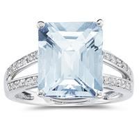 7 Carat Emerald Cut Aquamarine and Diamond Ring 10k White Gold