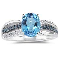 2.50 Carat Blue Topaz and  Blue and White Diamond Ring in 10K White Gold